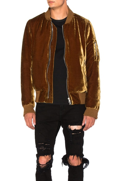 Amiri Silk Velvet Bomber Jacket in Gold
