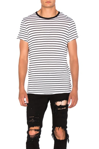 Amiri Classic Stripe Tee in White & Black