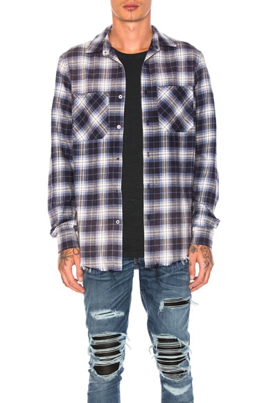 Amiri Grunge Flannel in Blue