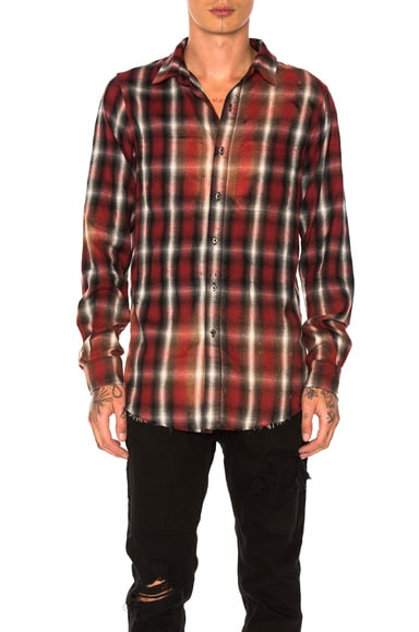 Amiri Spray Plaid Shirt in Red