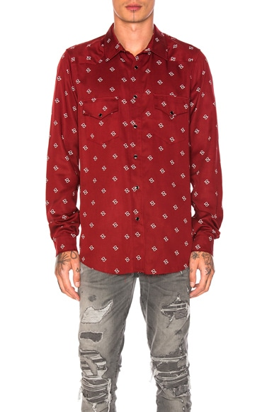 Amiri Western Paisley Shirt in Red