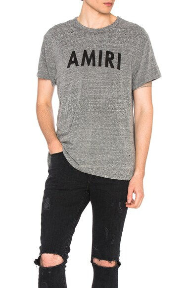 Amiri Vintage Tee in Heather Grey & Black