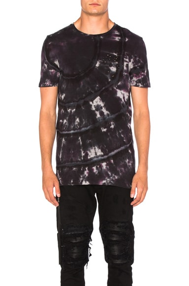 Amiri Shotgun Tee in Tie Dye Red
