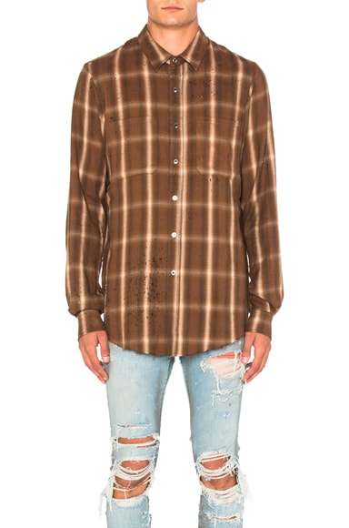 Amiri Shotgun Plaid Shirt in Brown