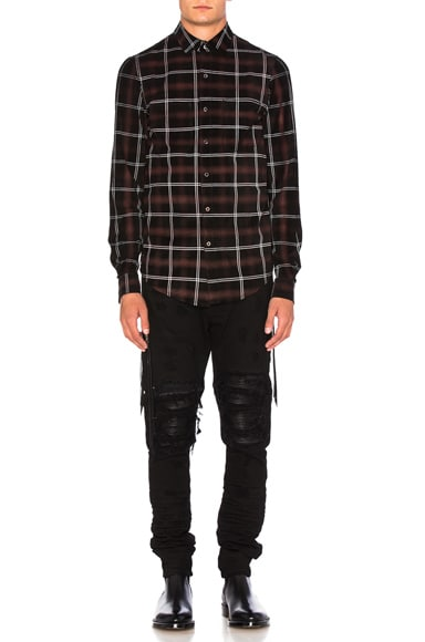 Amiri Suede Plaid Shirt in Red