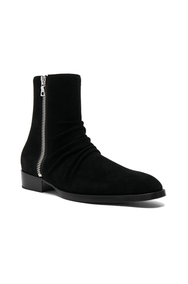 Amiri Suede Skinny Stack Boots in Black Suede