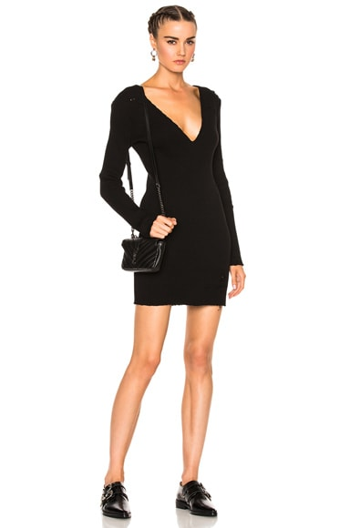 Long Sleeve Deep V Neck Rib Dress