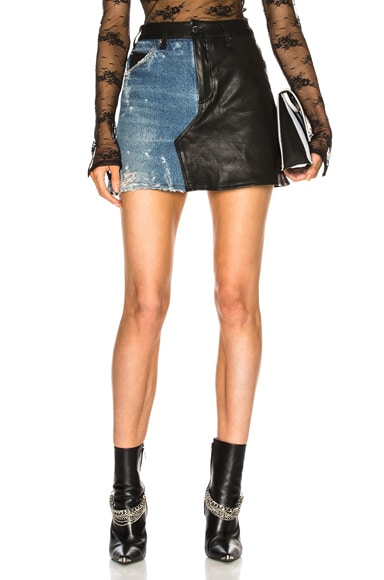 Leather Denim Flare Skirt