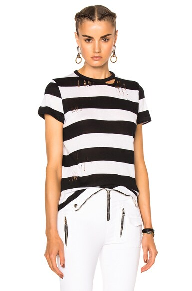 Amiri Cashmere Wide Stripe Tee in Black & White