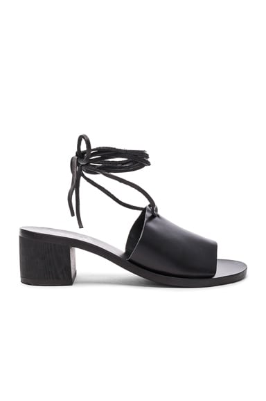 Ancient Greek Sandals Leather Christina Heels in Black