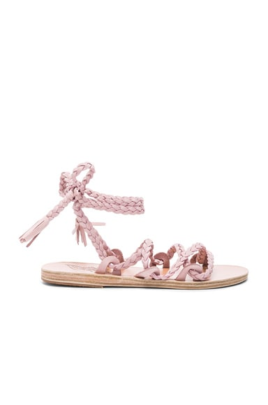 Ancient Greek Sandals Suede Kariatida Sandals in Pink