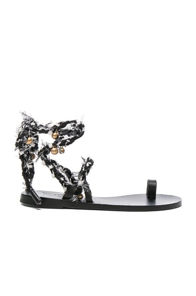 Ancient Greek Sandals Clotho Sandals in Black & White
