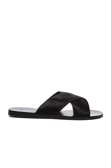 Ancient Greek Sandals Thais Pony Sandals in Black