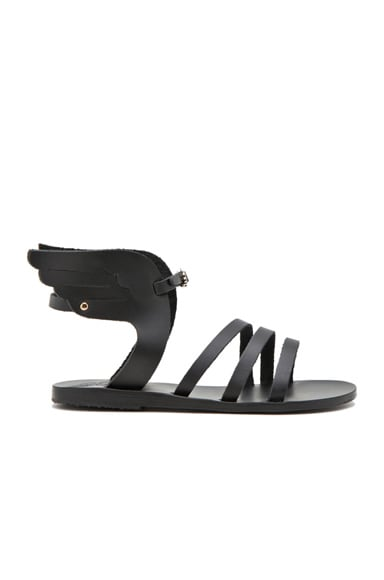 Ancient Greek Sandals Ikaria Calfskin Leather Sandals in Black