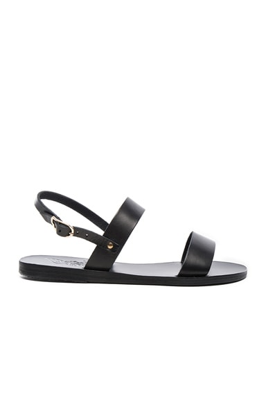 Ancient Greek Sandals Leather Clio Sandals in Black