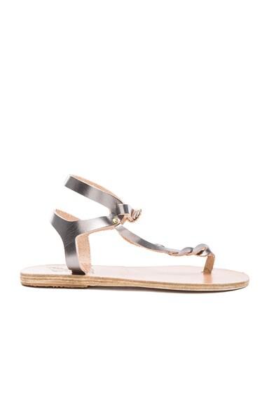 Ancient Greek Sandals Leather Ismene Sandals in Steel
