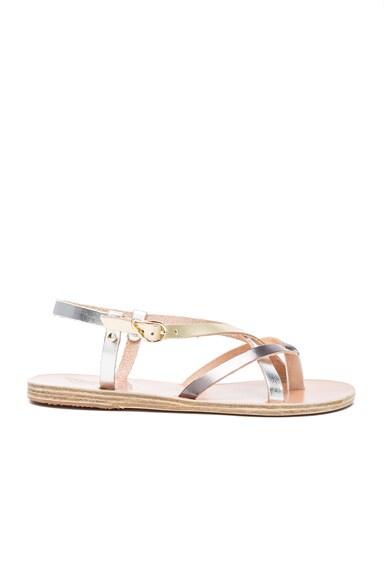 Ancient Greek Sandals Leather Semele Sandals in Steel, Silver & Platinum