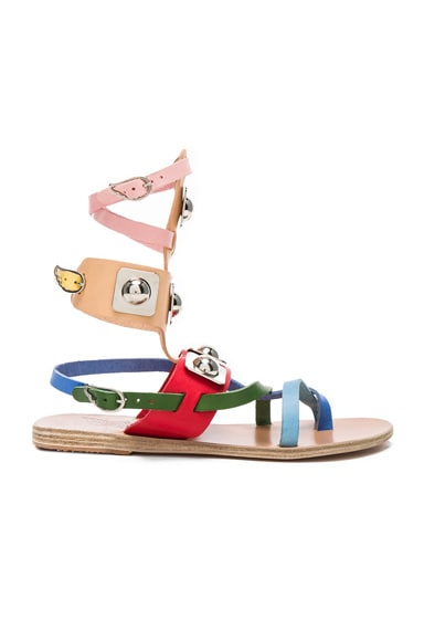 Ancient Greek Sandals x Peter Pilotto Leather Low Gladiator Sandals in Multi Color
