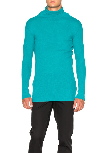 Ann Demeulemeester Knit Turtleneck Sweater in Turquoise