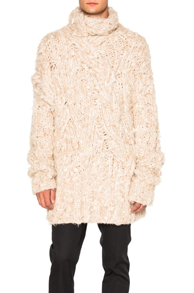 Ann Demeulemeester Hand Knitted Sweater in Blond