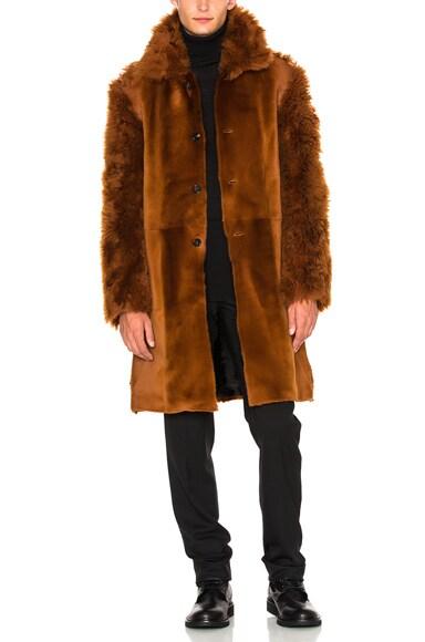 Ann Demeulemeester Sheep Fur Jacket in Rust