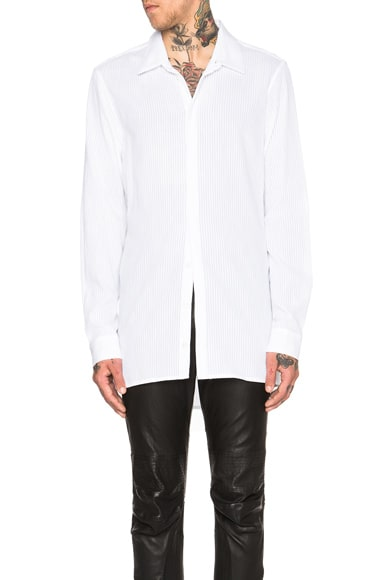 Ann Demeulemeester Sheer Stripe Button Down in White