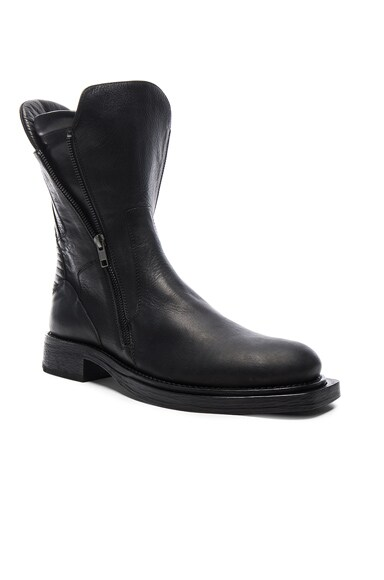 Ann Demeulemeester Leather Moto Boots in Olio Nero