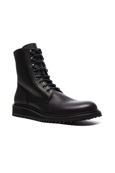 Ann Demeulemeester Lace Up Leather Combat Boots in Black
