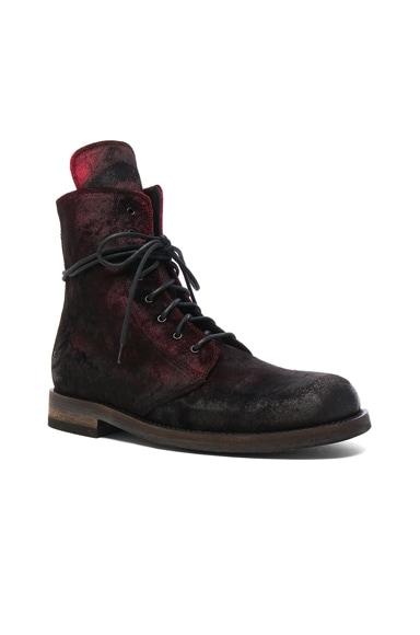 Ann Demeulemeester Velvet Boots in Ruby