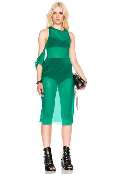 Ann Demeulemeester Chiffon Tunic Dress in Emerald