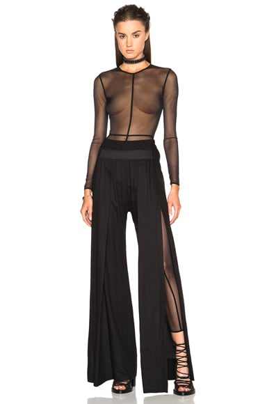 Ann Demeulemeester Soft Tulle Catsuit in Black