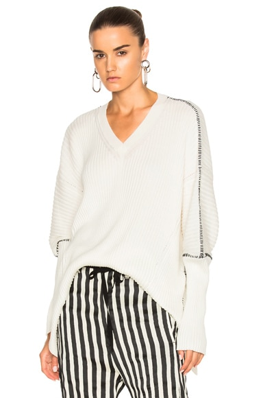 Ann Demeulemeester V Neck Sweater in Off White