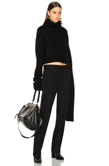 Asymmetric Hem Turtleneck Sweater