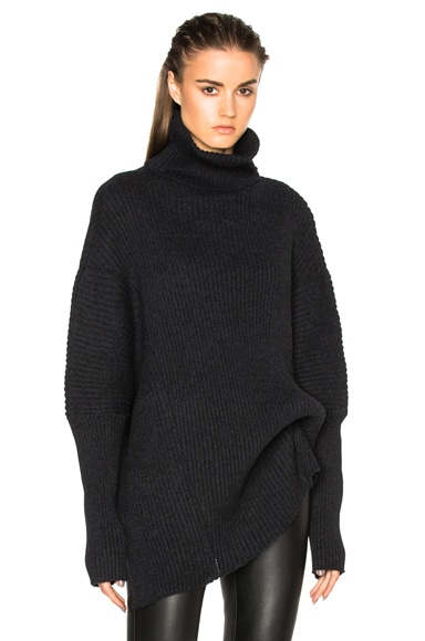 Ann Demeulemeester Wool Turtleneck Asymmetric Sweater in Black