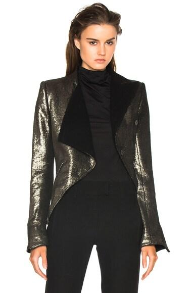 Ann Demeulemeester Drape Blazer in Black & Gold