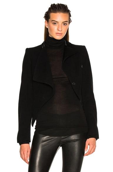 Ann Demeulemeester Contrast Lapel Drape Blazer in Black