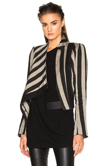 Ann Demeulemeester Crawford Stripe Jacket in Black & Mastic