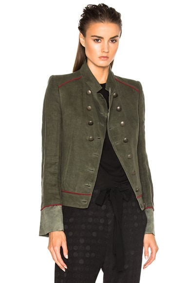 Ann Demeulemeester Military Jacket in Khaki & Shiny Palm