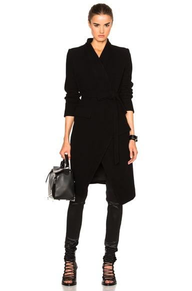 Ann Demeulemeester Belted Coat in Black