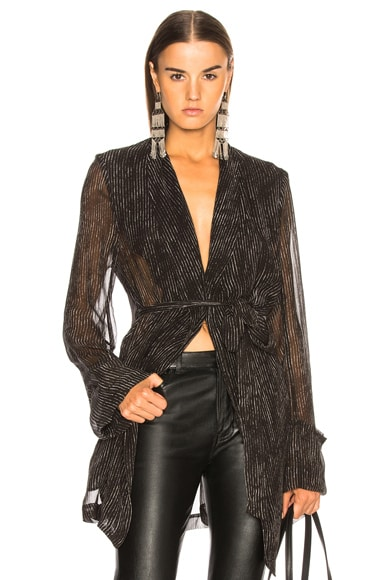 Pinstriped Sheer Sleeve Coat