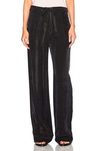Ann Demeulemeester Classic Stripe Satin Trousers in Black