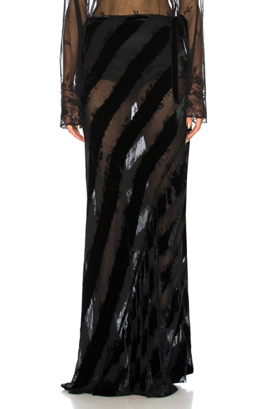 Velvet Stripe Maxi Skirt