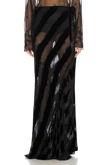 Velvet Stripe Maxi Skirt