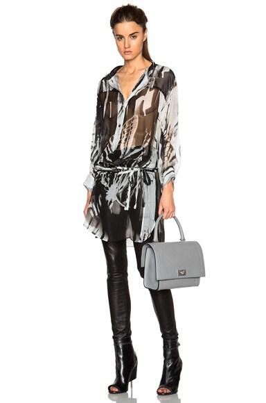 Ann Demeulemeester Wing Print Sheer Tie Waist Blouse in Aqua & Black