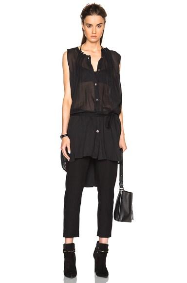 Ann Demeulemeester Sheer Pleated Tunic in Black