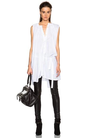 Ann Demeulemeester Pleated Poplin Tunic in White