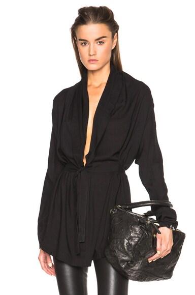 Ann Demeulemeester V Neck Belted Blouse in Black