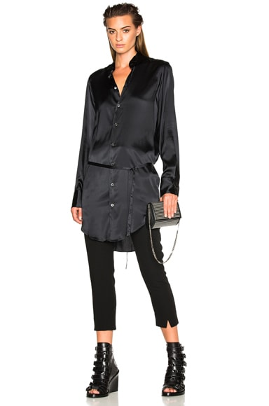 Ann Demeulemeester Belted Satin Tunic in Black