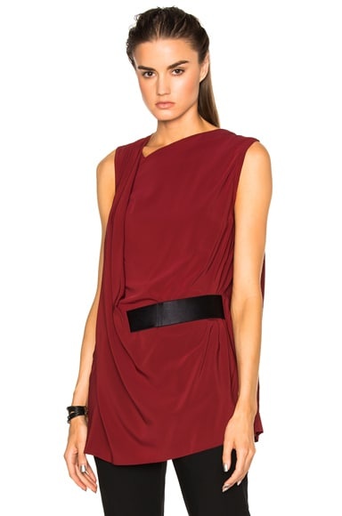 Ann Demeulemeester Belted Drape Tunic in Sang