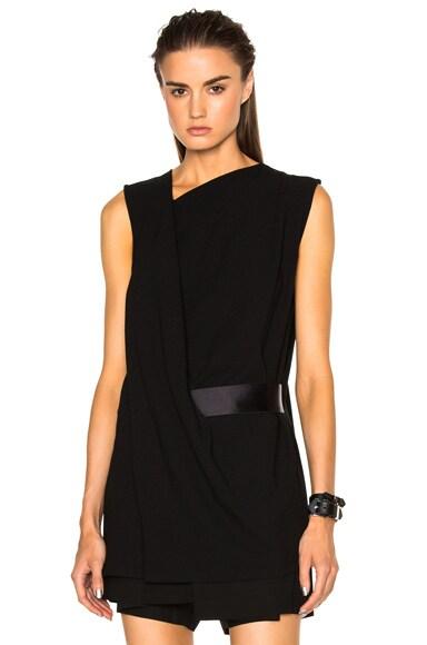 Ann Demeulemeester Belted Drape Tunic in Black
